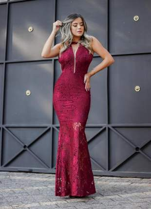 Vestido de festa longo renda marsala sensual blogueira casamento convidada madrinha