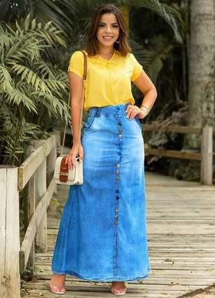 Saia longa jeans joyaly moda evangelica feminina promoção