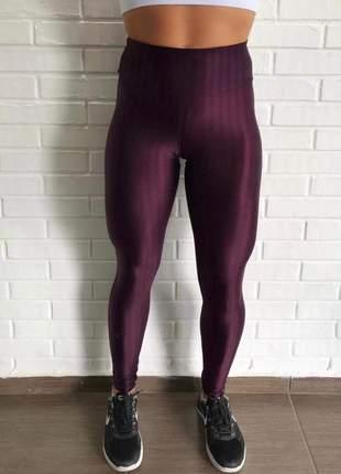 Calça legging cirrê 3d metalizada roxa #blackfriday