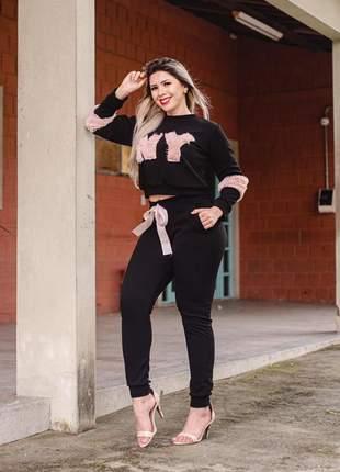 Conjunto inverno moda feminina  (calça e blusa)