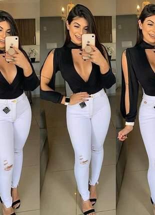 Body feminino manga longa com fenda golinha