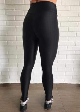 Calça legging preta cirre 3d metalizada feminina para academia new zig #blackfriday