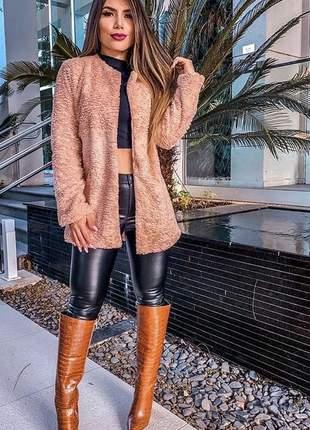 Casaco de pelo quentinho todo forrado estiloso inverno jaqueta maxxi