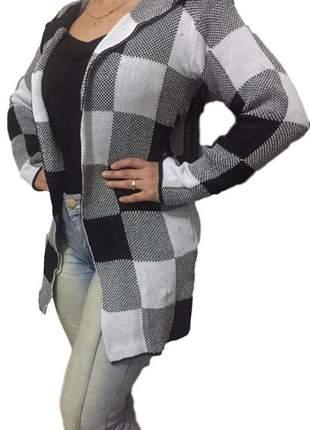 Kimono cardigan feminino longo xadrez moda inverno