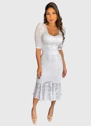 Vestido midi boutelle feminino de festa renda social casamento de noiva