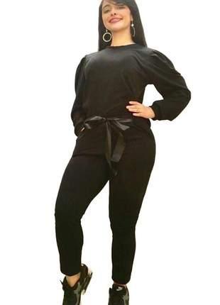 Conjunto moletinho feminino com laço manga bufante inverno
