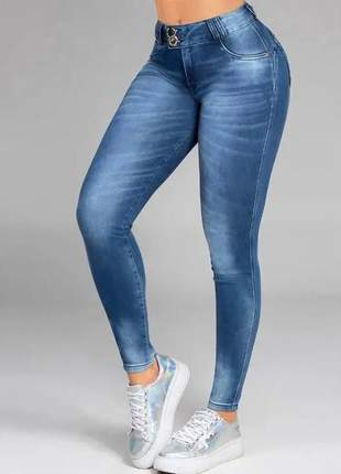 Calça pit bull feminina jeans skinny modela cintura