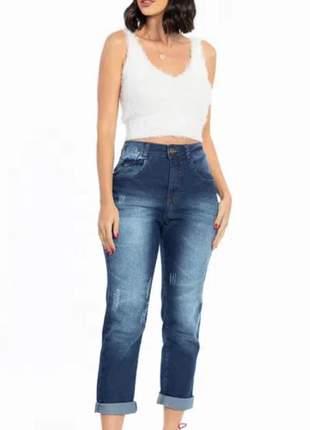 Calça jeans feminina modelo mom lançamento 2020