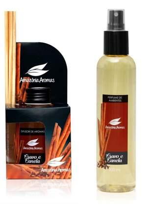 Kit 1 aromatizador perfume de ambiente e 1 difusor bambu cravo e canela