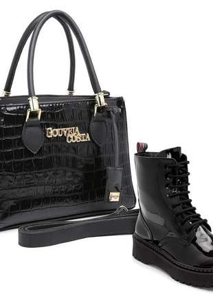 Kit bolsa tote verniz feminina alça mão metais casual. + bota coturno tratorada