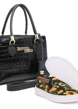 Bolsa tote verniz feminina alça mão metais casual preta + tenis slip on floral