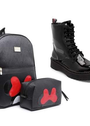 Kit mochila feminina+necessaire puro charme + bota coturno tratorado