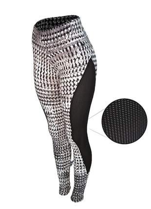 Calça legging fitness academia estampada black & white tela lateral