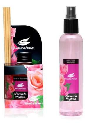 Kit 1 aromatizador perfume de ambiente e 1 difusor bambu lavanda amazônia aromas