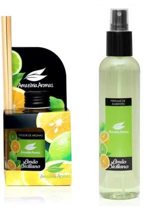 Kit 1 aromatizador perfume de ambiente e 1 difusor bambu limão siciliano amazônia aromas
