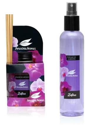 Kit 1 aromatizador perfume de ambiente e 1 difusor bambu zafira amazônia aromas