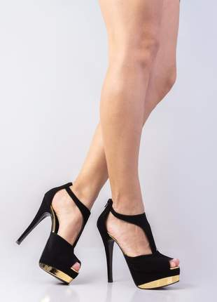 Sandalias femininas peep toe festa