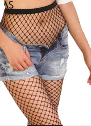 Meia calça arrastão preto adulto moda