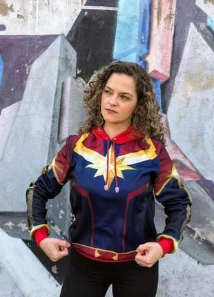 Moletom feminino capitã marvel com capuz e bolsos - blusas femininas