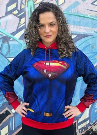 Moletom feminino com capuz e bolsos supergirl - moda feminina 2020