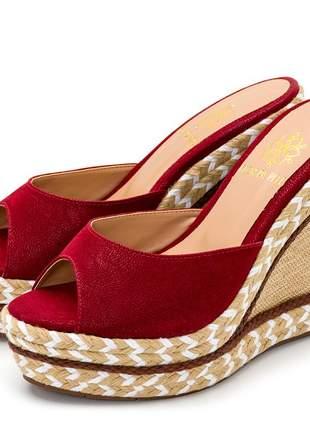 Sandália tamanco vermelho salto em juta bege detalhe corda