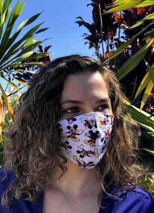 Máscara de tecido lavável tripla camada de proteção estampada mickey mouse
