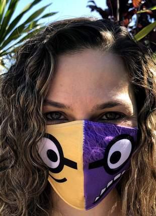 Máscara de tecido com 3 camadas look minion | melhor do mercado