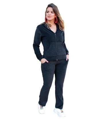 Conjunto feminino de plush ziper capuz inverno