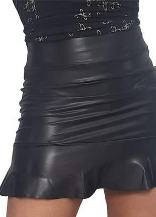 Mini saia babado peplum em suplex cirrê