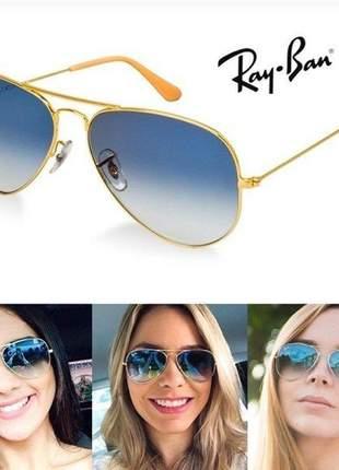 Óculos de sol ray ban aviador azul degrade