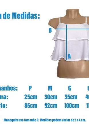 Blusa feminina top cropped - preto