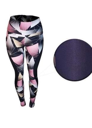 Calça legging fitness academia estampada confortável com tela lateral