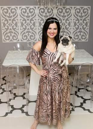 Vestido ariade modelo zeus animal print zebra