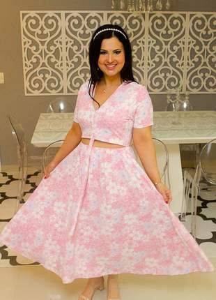Vestido ariade midi estampado doçura rosa