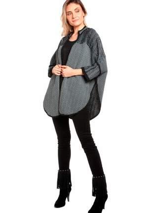 Casaco amplo ralm em zig zag - cinza c/ preto