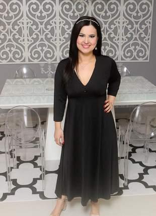Vestido preto midi ariade essencial