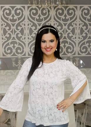 Blusa branca com manga ariade modelo iraci em devorê