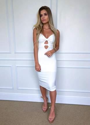 Vestido fuel fashion midi tubinho branco com recortes