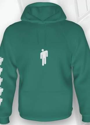 Moletom feminino ou unissex flanelado billie eilish verde e branco com capuz e bolsos