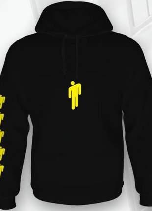 Blusas femininas - moletom billie eilish preta e amarela flanelada por dentro e com capuz