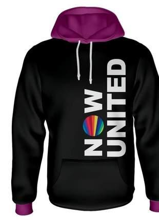 Moletom feminino now united preto com capuz roxo