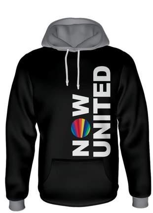 Moletom now united feminino preto com capuz cinza e flanelado por dentro