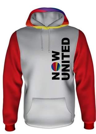 Moletom now united feminino branco com mangas vermelhas flanelado e com capuz