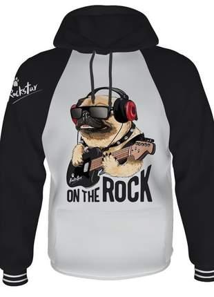 Moletom feminino flanelado rock star com capuz e bolsos personalizado