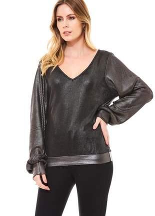 Blusa manga longa ralm com foil - preto