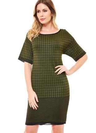 Vestido curto ralm jacard - verde c/ preto