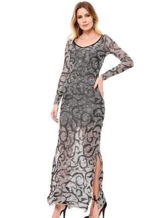 Vestido longo ralm rendado - preto