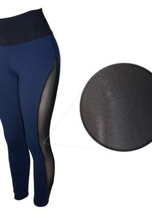 Calça legging fitness cintura alta azul marinho com tule lateral feminina
