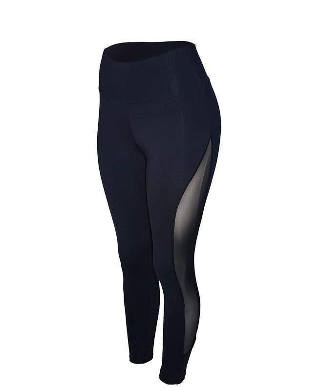 Huzzy / Calça legging fitness cintura alta preta com tule lateral feminina