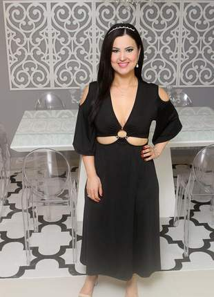 Vestido midi com manga 3/4 preto ariade modelo bahamas